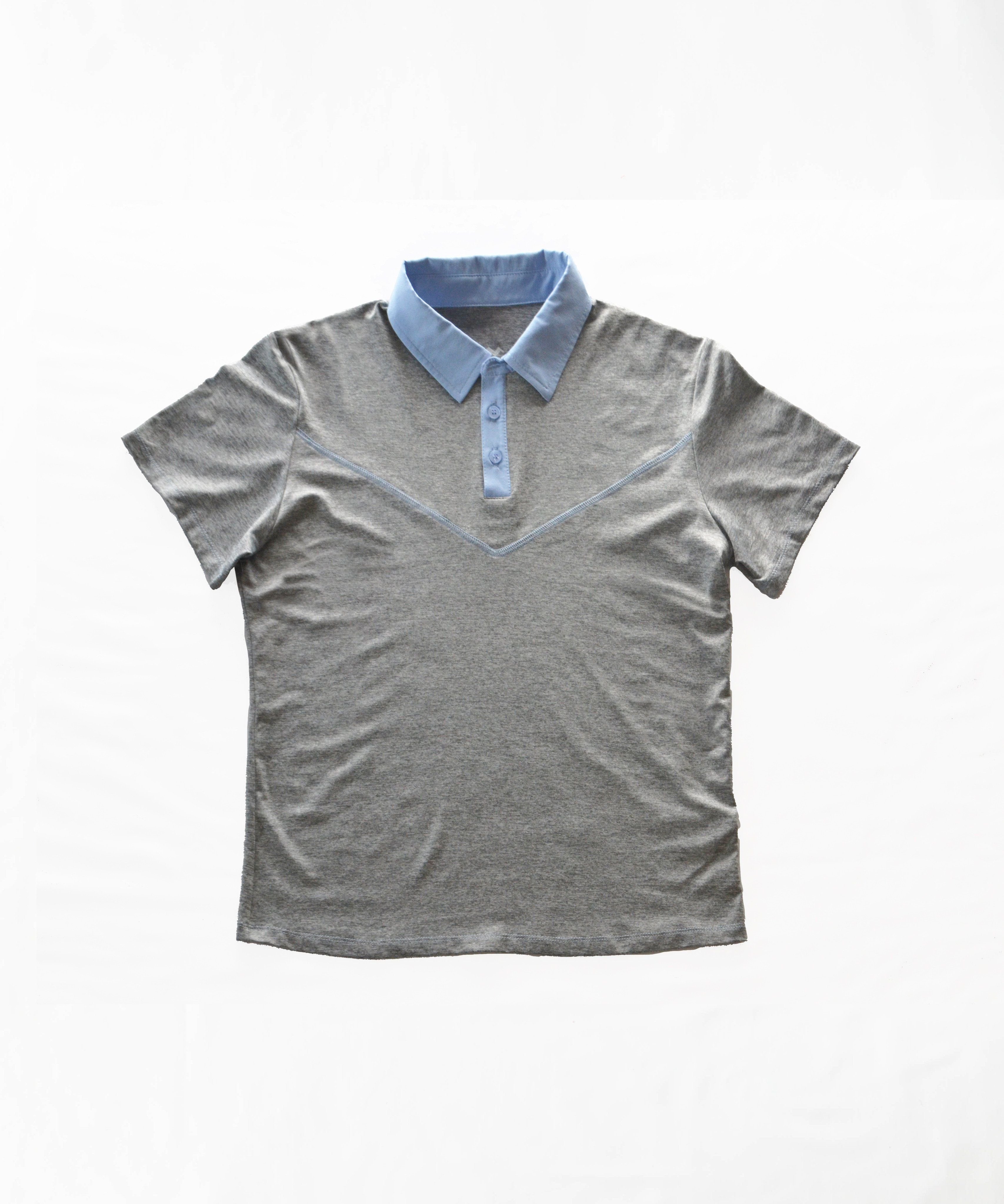 a355978d Short Sleeve Polo with front V seam. Scout Sports Logo in light gray  printed on center back below the collar. Details Notes -Moisture wicking -2-way  stretch ...