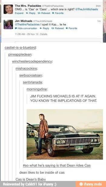 Hahahahaha not a destiel shipper but you gotta love Jim Michaels