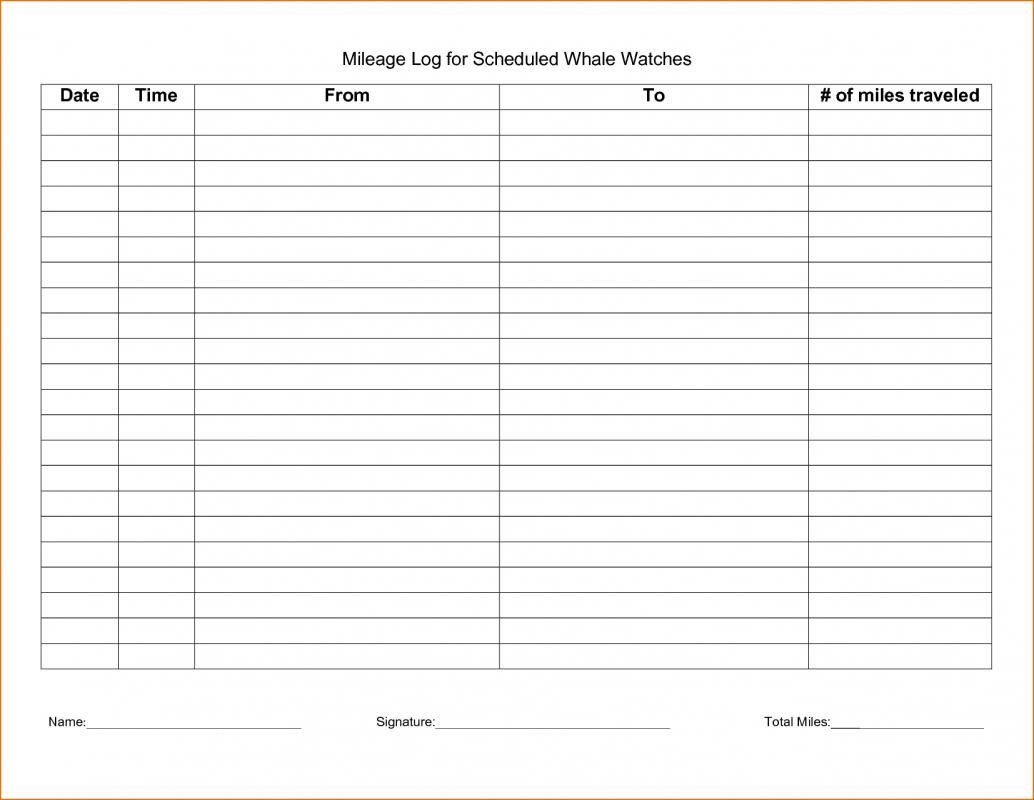 Free Printable Mileage Log Free Printables Mileage Logging Templates