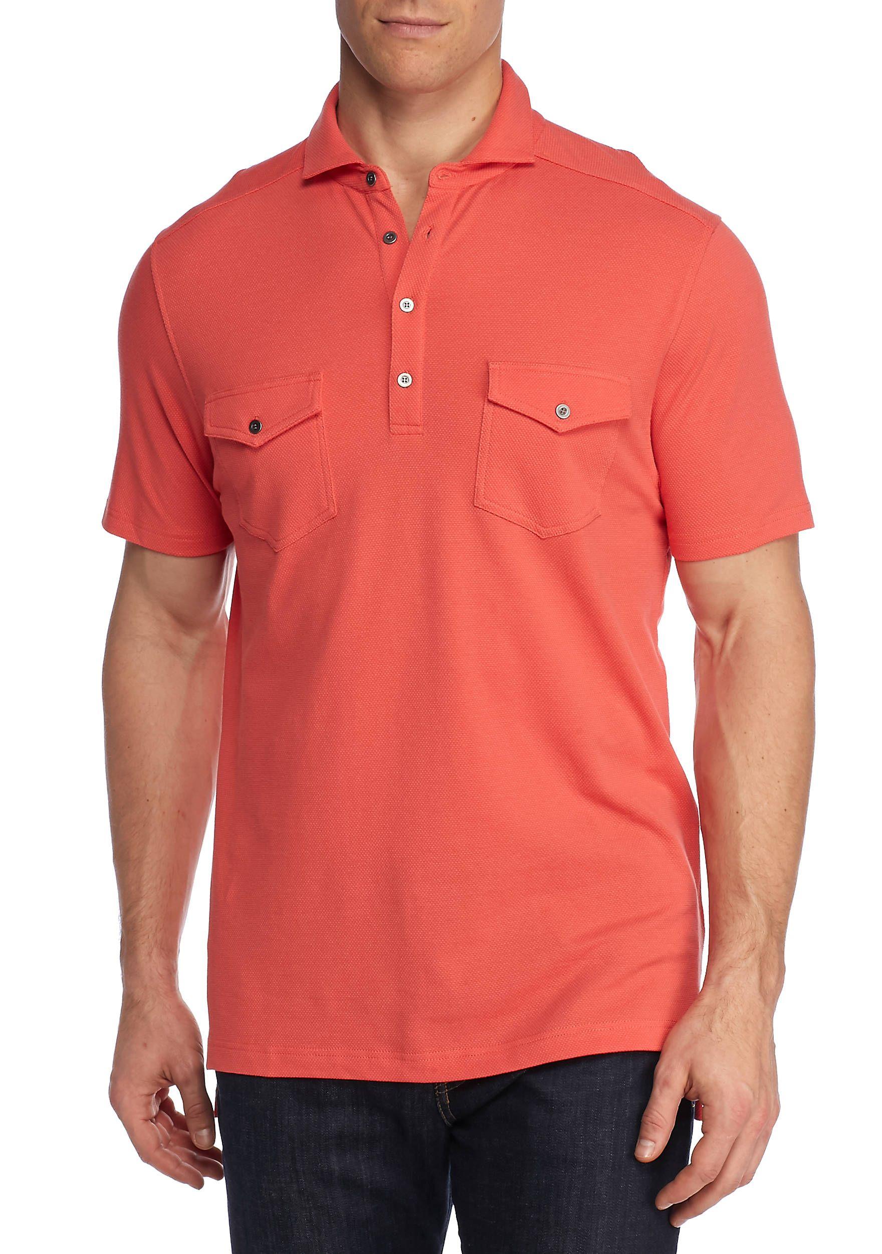 Ocean & Coast® Short Sleeve Two Pocket Polo Shirt Coral Orbit Men ...