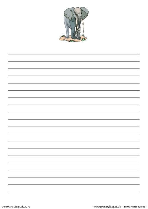 PrimaryLeapuk - Elephant writing paper Worksheet The One and - printable writing paper template