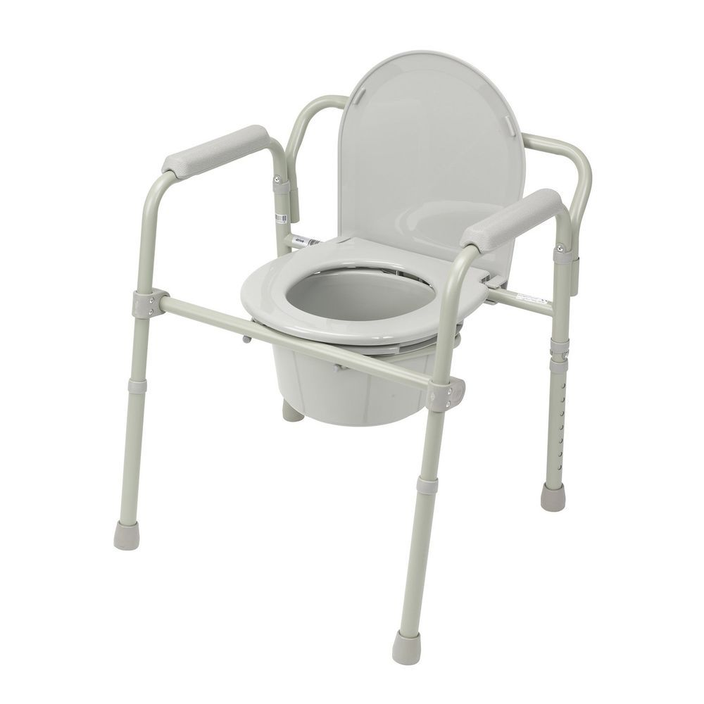 Folding Steel Bedside Commode Toilet Seat Chair Senior Citizen Safety Bathroom Drivemedical Bedside Commode Portable Toilet Seat Commode