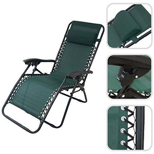Todeco – Chaise longue de jardin inclinable, transat métal et toile ...