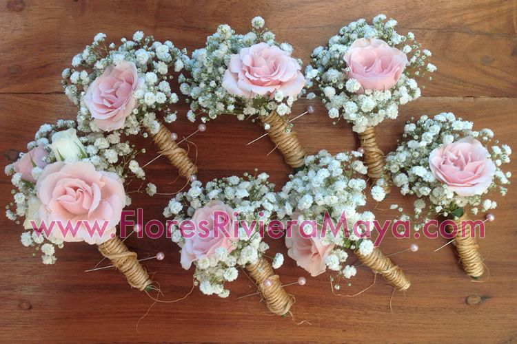#boutonniere #weddings Pink Spray Roses And Baby Breath