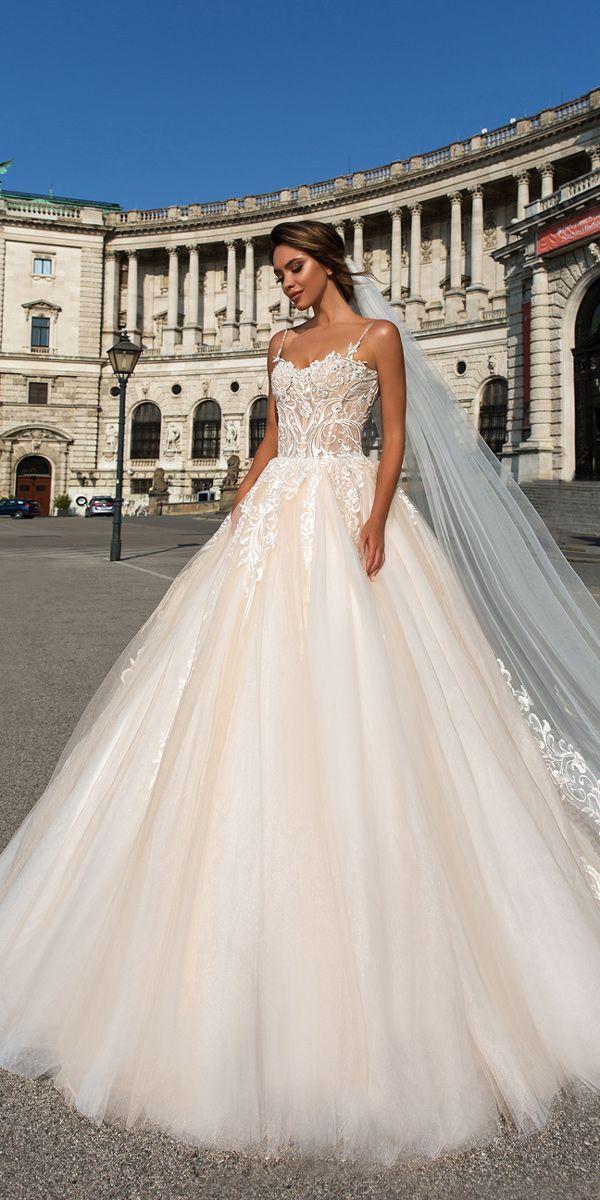 Crystal Design 2018 Wedding Dresses Blush Ball Gown Lace Spaghetti