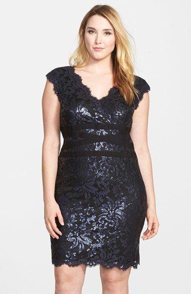 b9175353f52899 Plus Size Cocktail Dress - Tadashi Shoji Sequin Lace Sheath Dress (Plus  Size)
