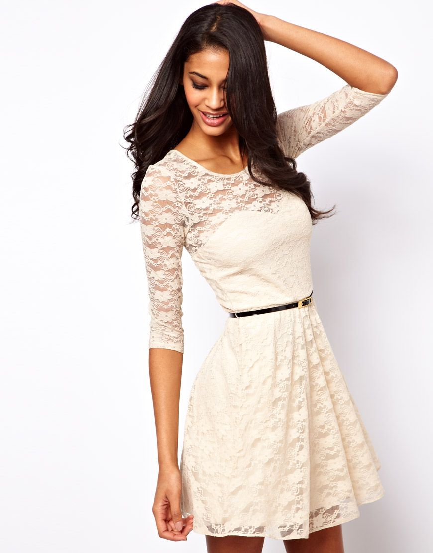 Skater dress in lace with sleeves pretty things to wear