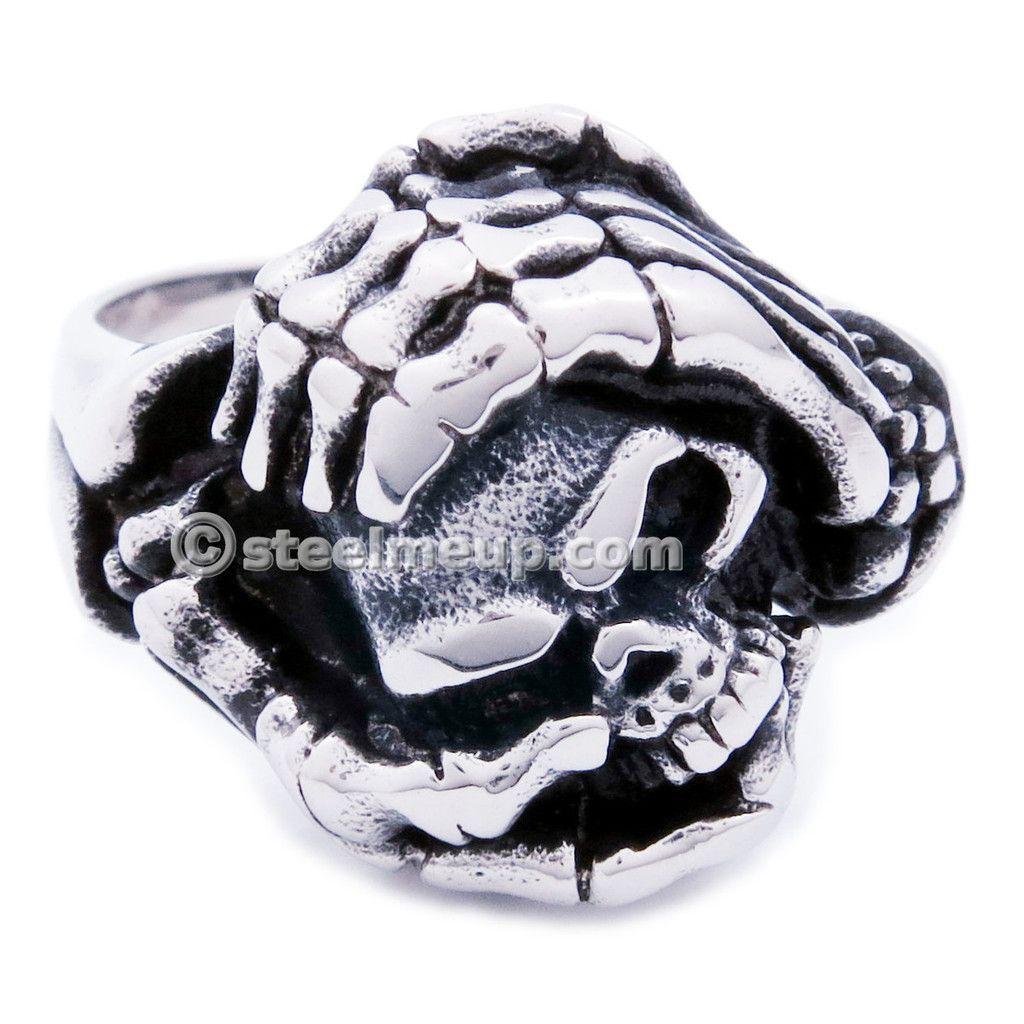 Stainless Steel Skeleton Hand Holding Skull Men Biker Ring