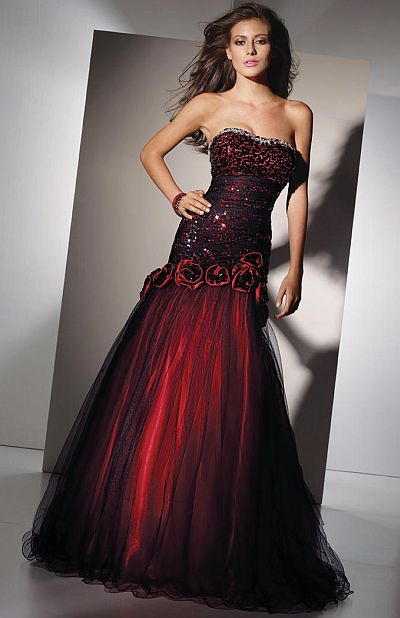 Alyce Paris Black Label Red and Black Sequin Tulle Prom Dress 5456 ...