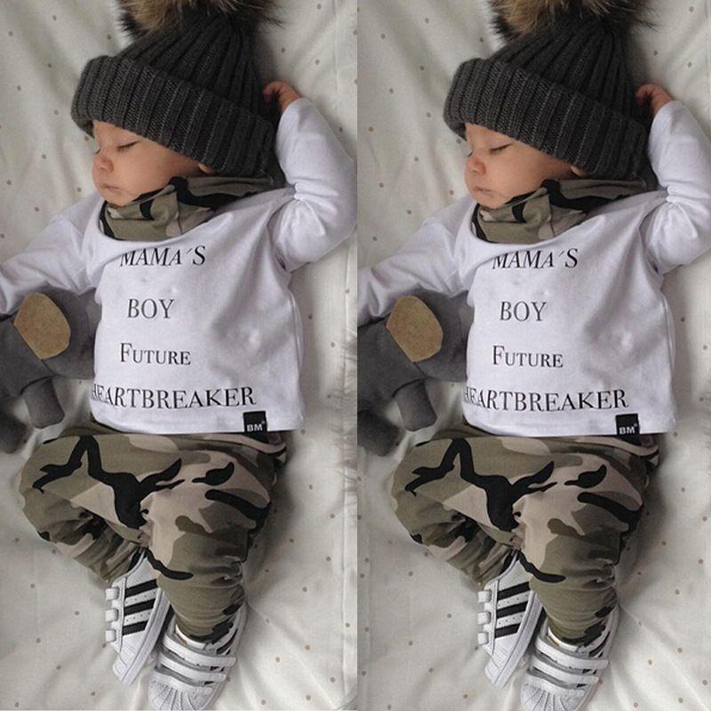1e6bf550cb90d Bébé garçon vêtements 2018 automne enfants vêtements ensembles t-shirt +  pantalon 2 pcs costume bébé vêtements ensemble Camouflage nouveau-né  infantile ...
