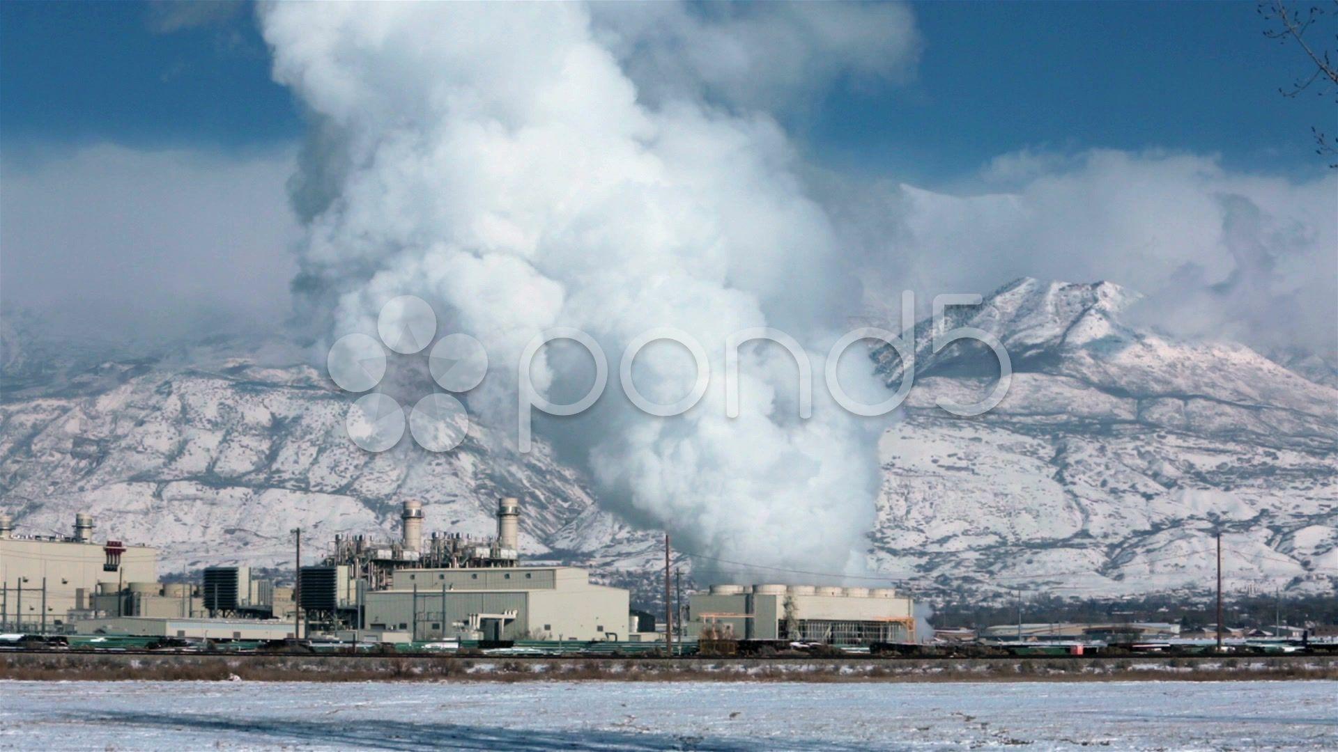 Power Plant Winter Snow Natural Gas Steam Smoke Hd 0190 Stock