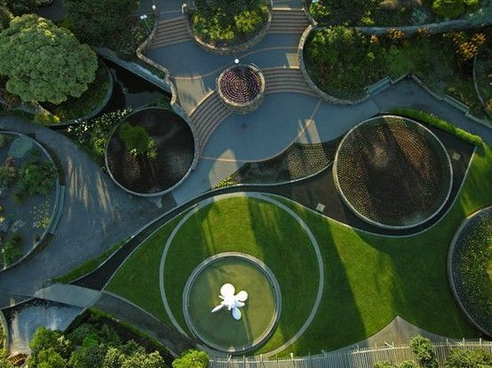 Bold Circle And Curve Stairs In Landscape Landscape Design Landscape Architecture Design Park Landscape