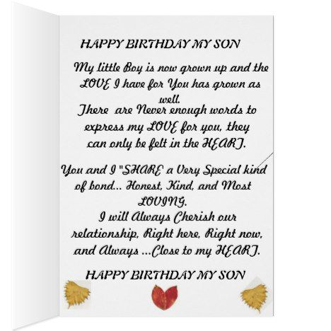 Birthday Card For That Special Son Pinterest Sons And Birthdays