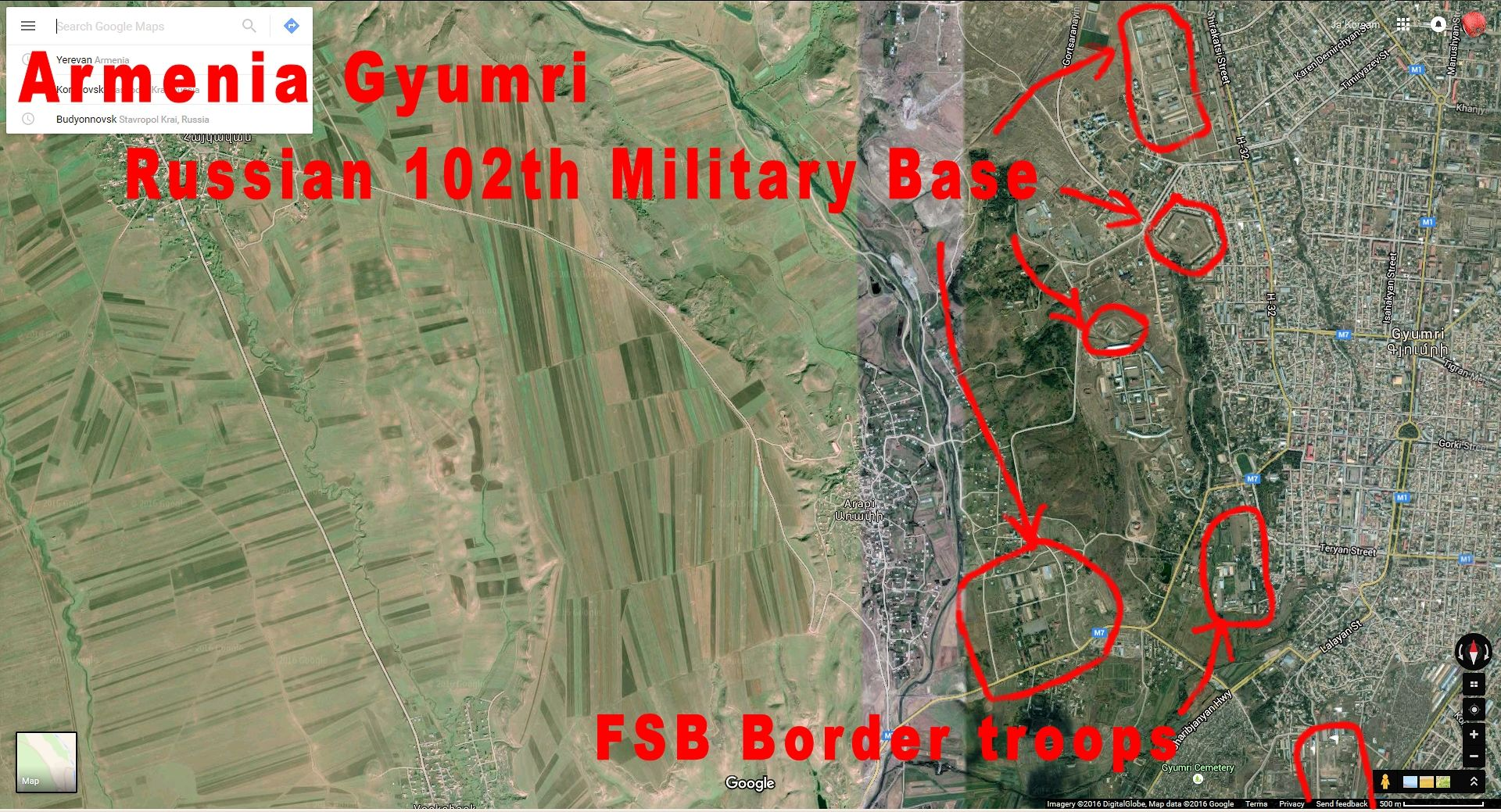 Gyumri Armenia 102th Russian military Base Maps Screencaptures