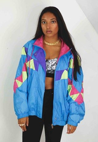 Vintage+Retro+Pattern+Windbreaker+Jacket+90s+M+12.6