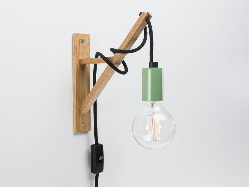 Otto Plug In Wall Sconce Green Wooden Wall Hook On Off Etsy In 2020 Wooden Wall Lights Plug In Wall Sconce Wooden Wall Hooks