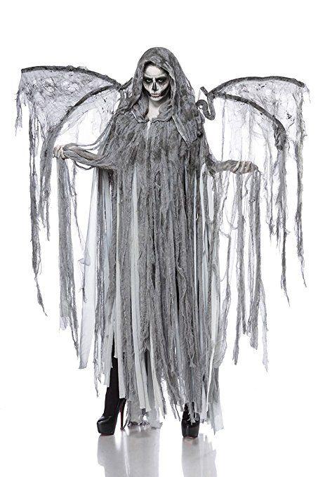 Horror Halloween Halloweenkostum Damen Engel Tod Skelett