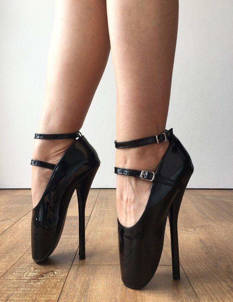 18cm Fetish Ballet Stiletto Heel Mary Janes 2 Ankle straps ...