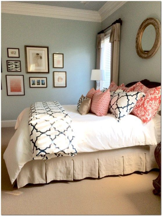 Completed Linen Navy And Coral Bedroom To See More Rooms In My in Coral Bedroom Decor  The Urban Interior  Completed Linen Navy And Coral Bedroom To See More Rooms In My...