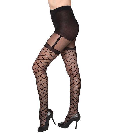 Black Sheer Lattice Garter Beverly Rock Tights