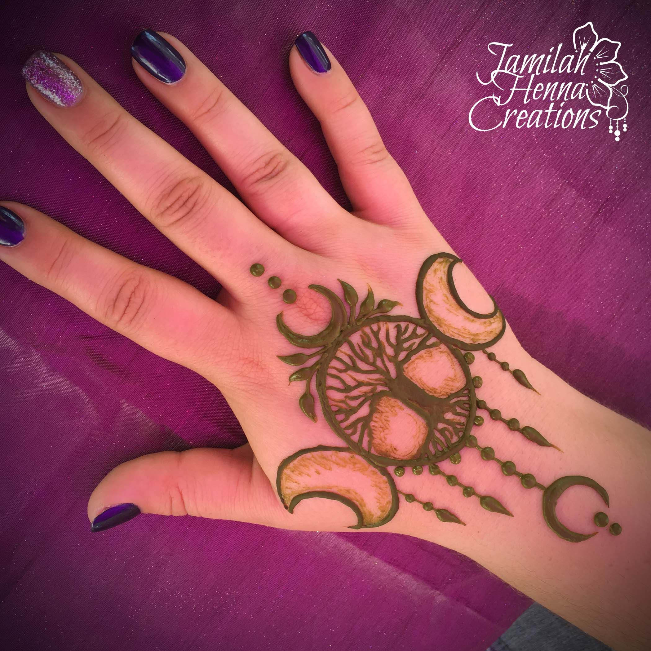 Inflicting Ink Tattoo Henna Themed Tattoos: Tree Of Life Moon Henna Design Www.jamilahhennacreations
