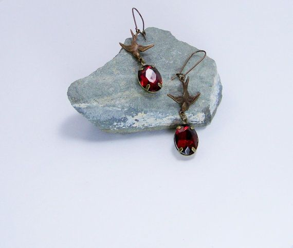 Antique Gold vintage sparrow and red garnet faceted by Soulceen, $12.99