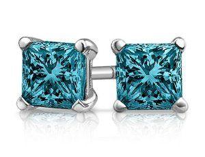 Princess Cut Blue Diamond Solitaire Stud Earrings 1 2 Carat Ctw In 14k White Gold