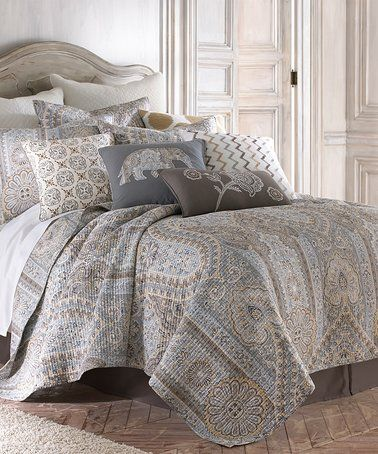 This Gray Arabesque Quilt Set is perfect! #zulilyfinds