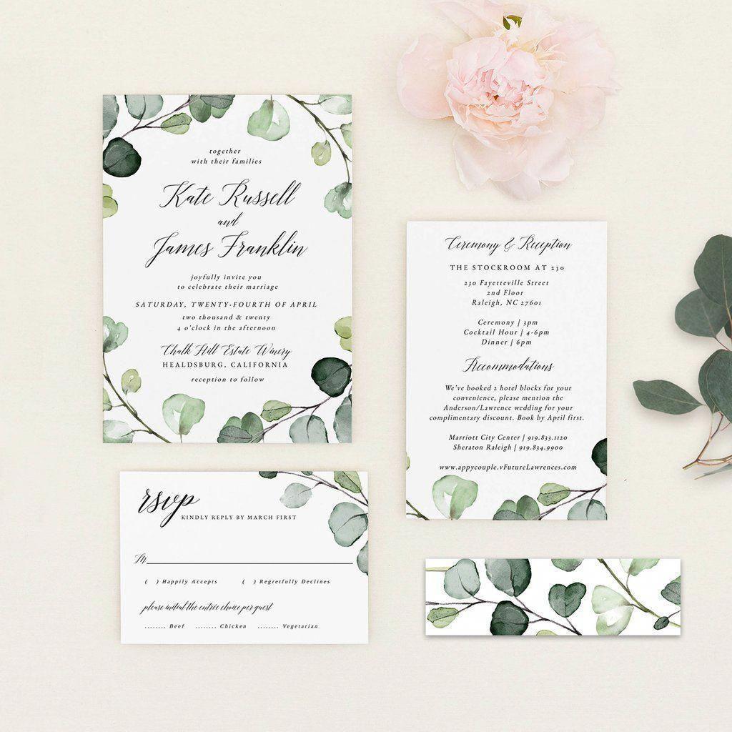 Eucalyptus Wedding Invitation Pdf