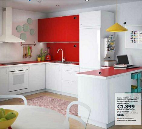 Cocina Blanca Y Roja Ikea Applad 2014 Catalogo Cocinas Casa Que