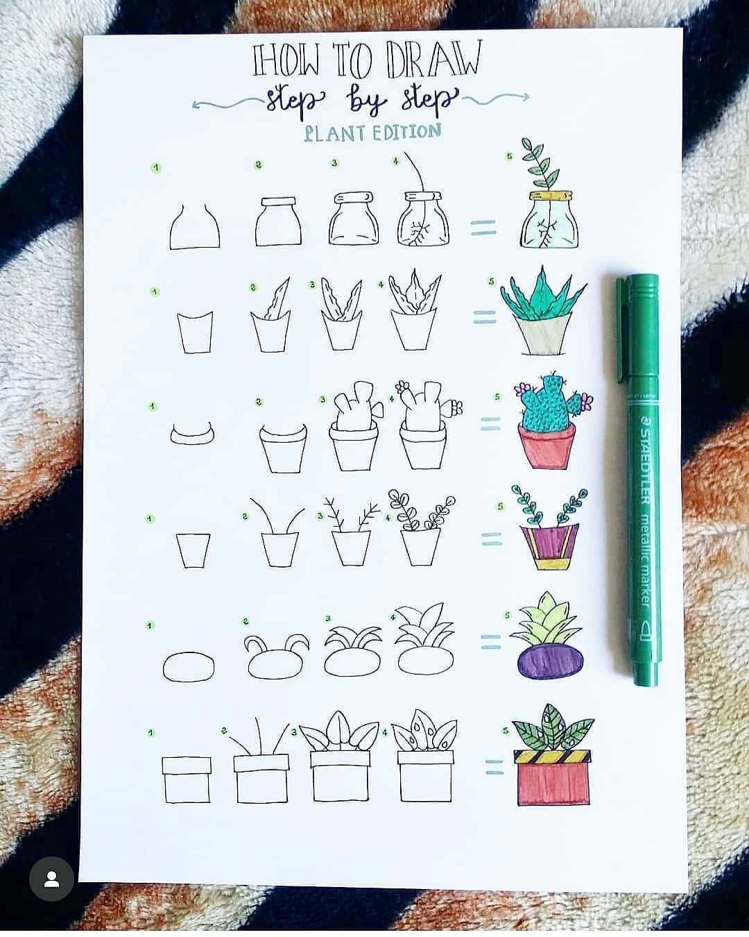 "Bujo💕 ll Moodyoasis.com on Instagram: ""Here is how @my_unicorn_notes doodles plant! The step by step is so detailed! 🤗💕 - Follow @moody.oasis for more inspiration! - Shop your…"""