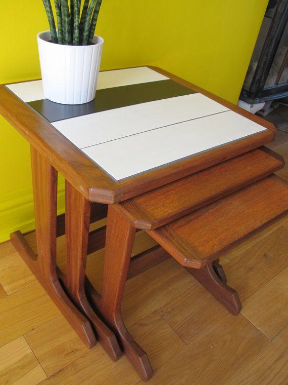 G-Plan Nest of Tables 1960s teak refurbished retro kitsch kitchen
