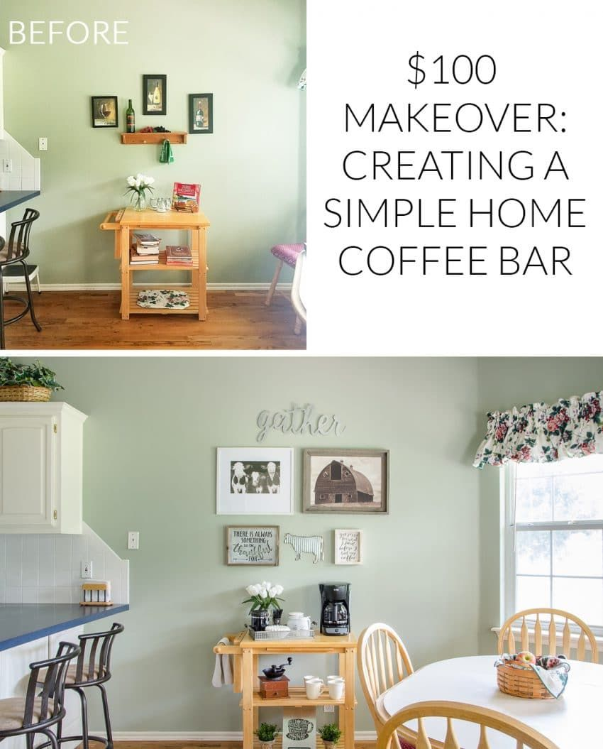 Creating A Simple Coffee Bar for Mom\'s House {$100 Makeover ...