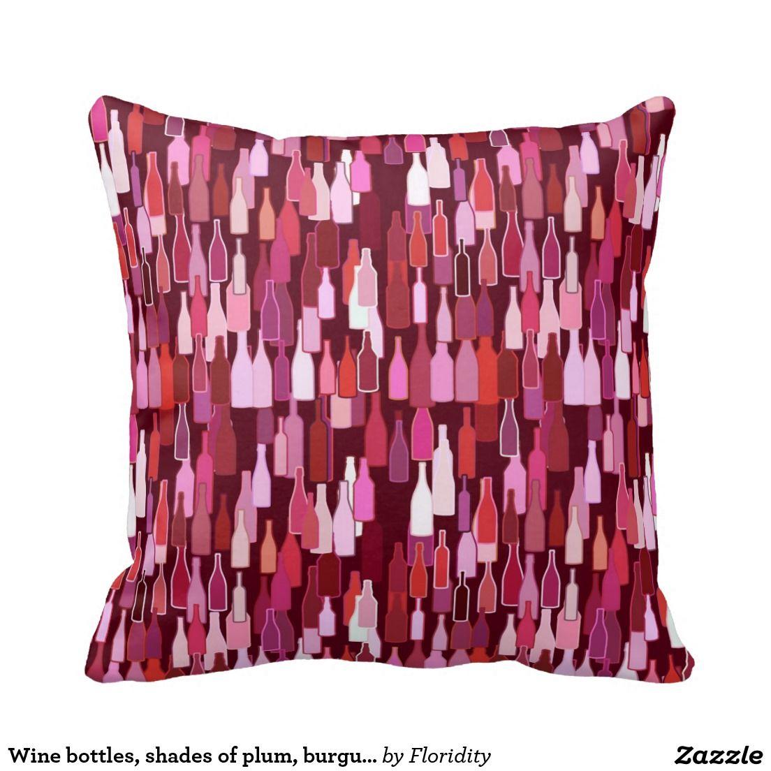Wine Bottles Shades Of Plum Burgundy Background Throw Pillow Zazzle Com Wine Bottle Burgundy Burgundy Wine