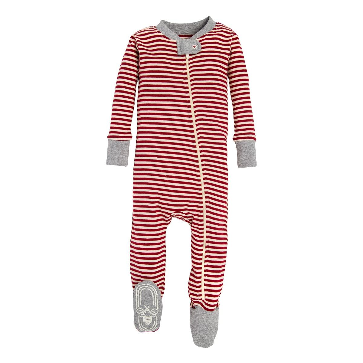 Candy Cane Stripe Organic Baby Holiday Matching Zip Up Footed Pajamas With Images Burts Bees Baby Baby Bee Candy Cane Stripes