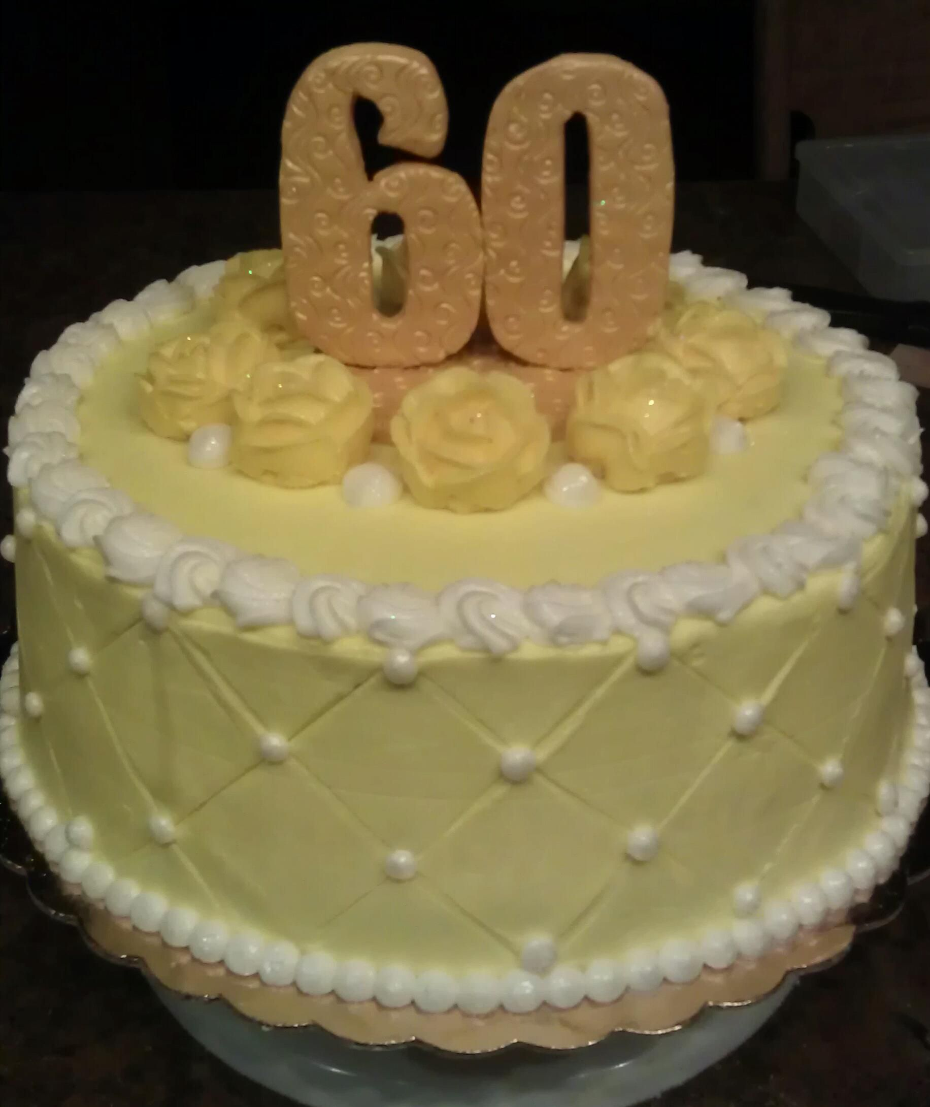 Yellow Themed 60th Birthday Buttercream Frosted Cake With