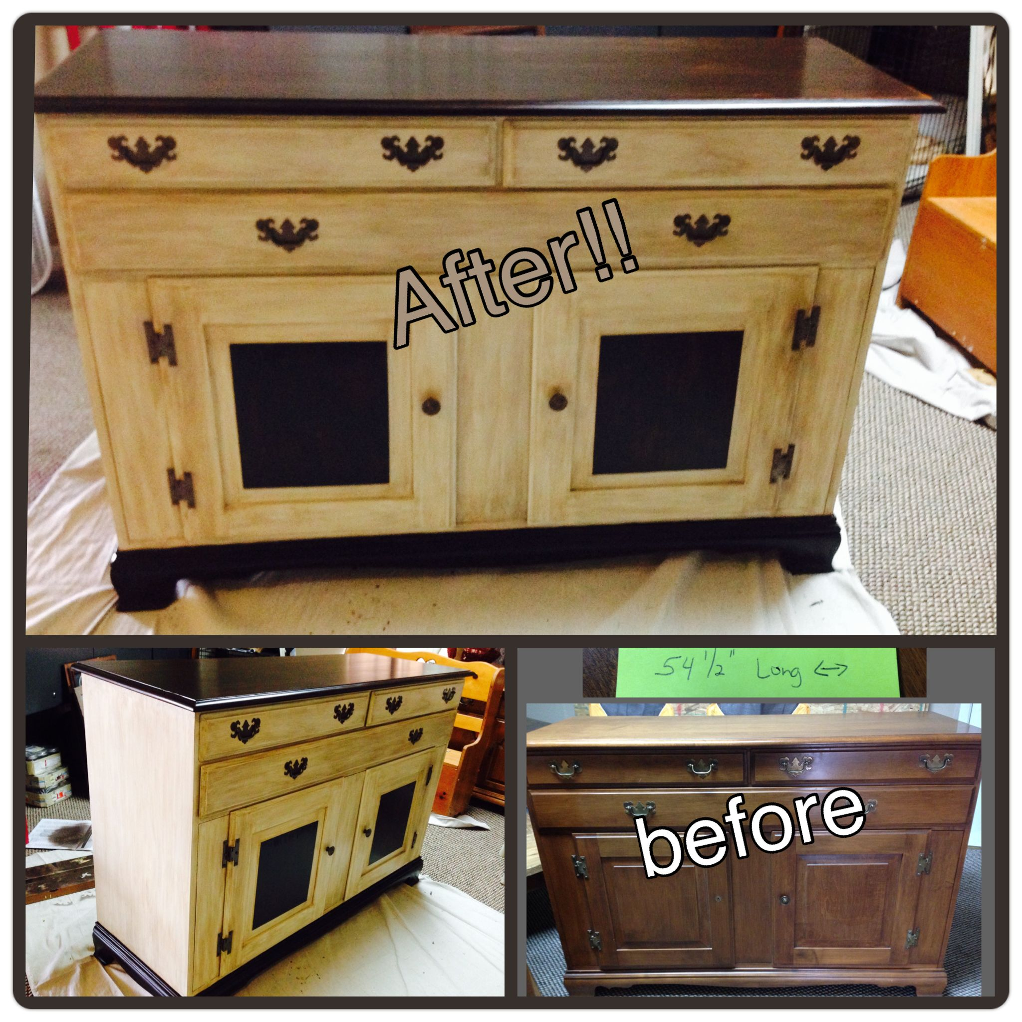 Maple wood buffet painted with General Finishes Milk paint in