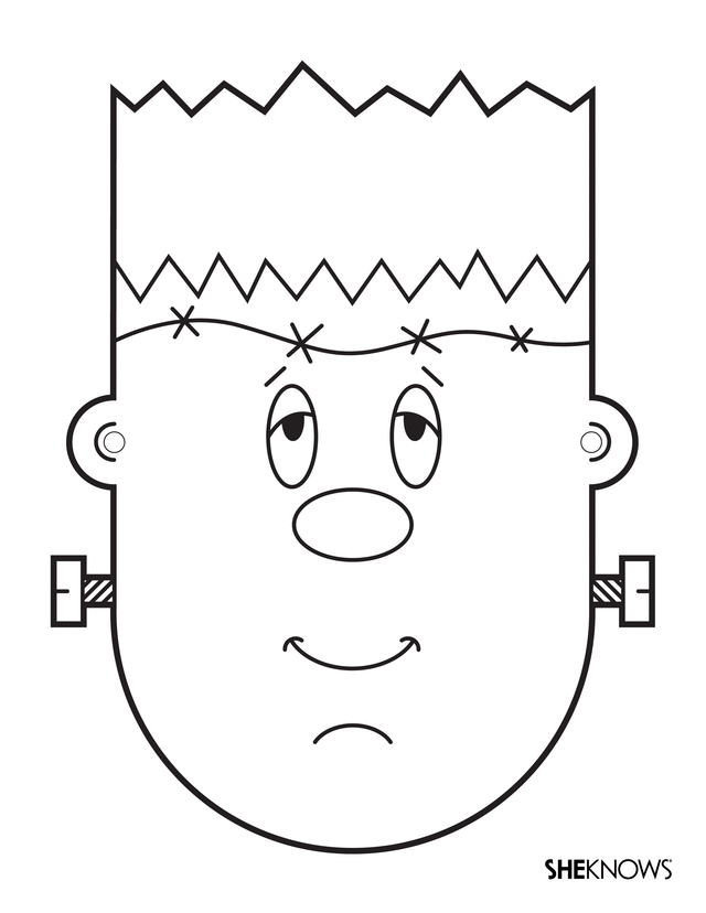 Monster Activities Frankenstein Head Coloring Page Could Also Cut Out The Eyes And Use As A Mask