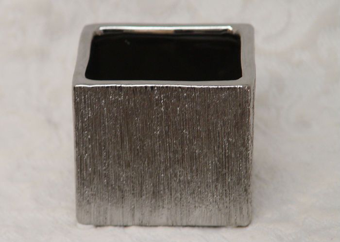 4 Silver Etched Ceramic Cube Ceramic Vases Wholesale Flowers And