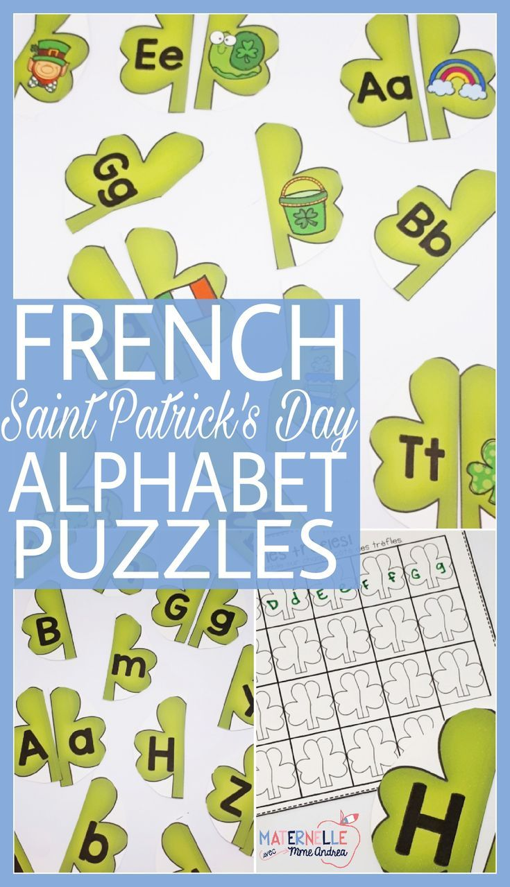 FRENCH Alphabet Saint Patrick's Day Literacy Centre