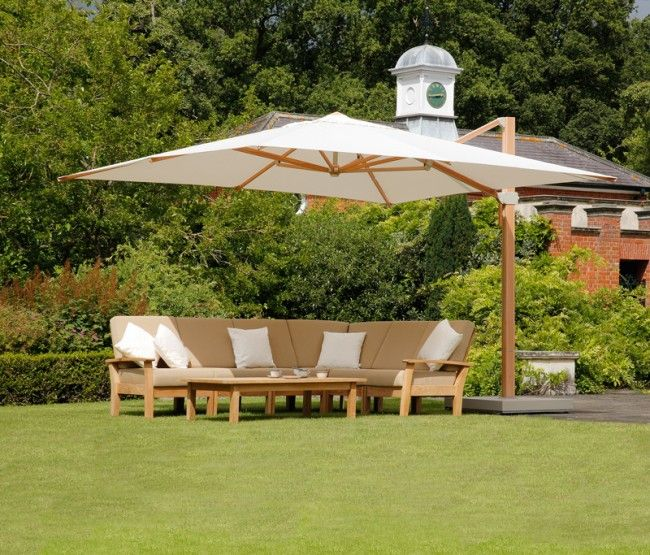 Barlow Tyrie Napoli 4m Square Cantilever Parasol | Rooftop Living ...