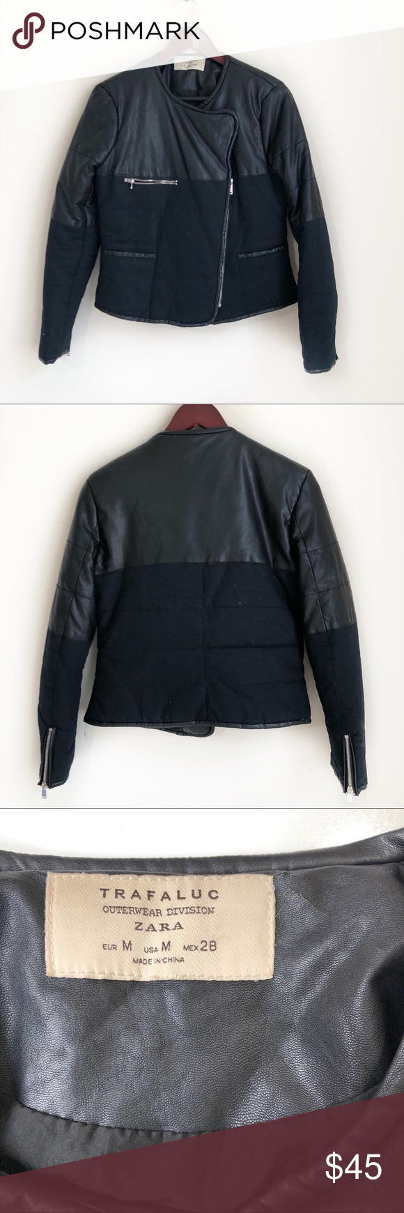 Zara Trafaluc Outerwear Division Jacket Excellent Condition 100 Polyester Faux Leather Zara Jackets Coats Jackets Zara Zara Jackets [ 1740 x 580 Pixel ]