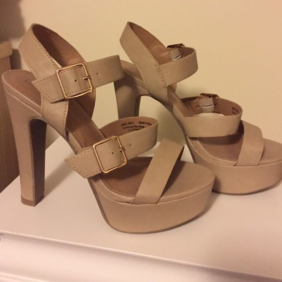 Nude strappy heel Nice faux leather Lauren Conrad heel. Only worn once. LC Lauren Conrad Shoes Heels