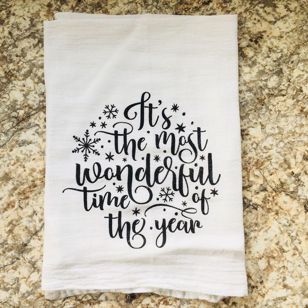 Most wonderful time of the year christmas dish flour sack tea towel