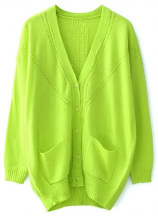 Neon Green Girls Oversized Cardigan