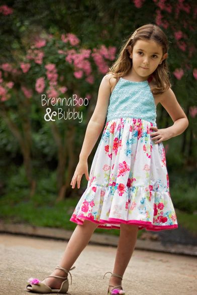 Simple Life Pattern Company Lace back Cora strappy wave pleat top, dress and maxi top open back woven straps tie bow ruffle holiday fashion style pleated bodice special occasion girls teen sizes 2t-12 Beautiful, easy and modern child sewing PDF patterns