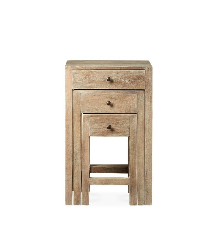 Swoon Editions Side Table Set, Modern Country Style In Mango Wood   £229