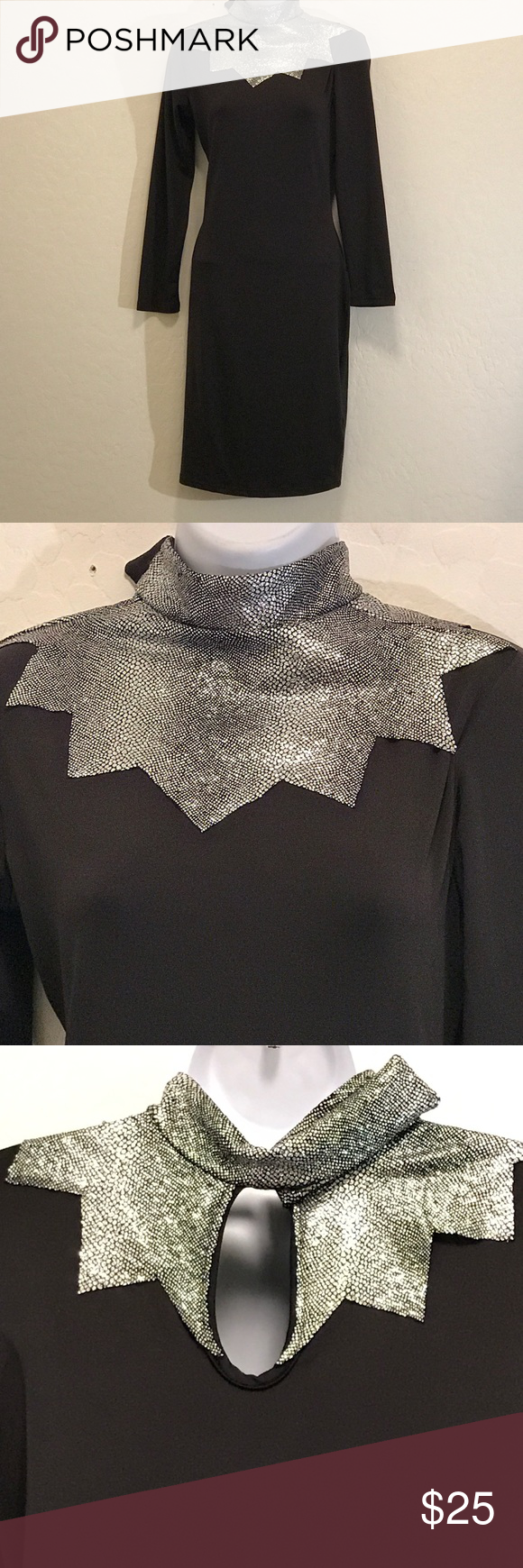 """⬇️Price Drop⬇️Black Cocktail Dress Never Worn, Silver Collar, Stretch, Long Sleeve, Keyhole Back, This is an attention getter for sure. Velcro Neck, Very Fitting. I wear a Medium, but this one really curves to your body. Runs on the small size to me. No tags on material feels like Polyester/Spandex. See measurements appx: bust 32"""" waist 27"""" hip 33"""" length 37"""" Perfect for any cocktail party. Dresses"""