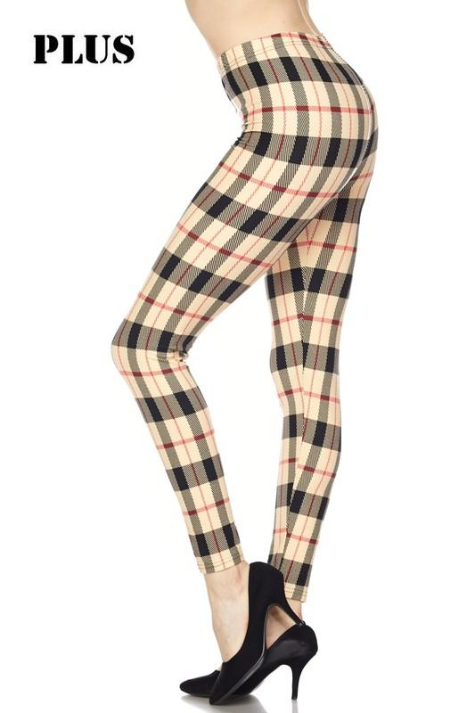 ab4b295e600199 Christmas Plaid PRINT Brushed Ankle PLUS SIZE Leggings | Products ...