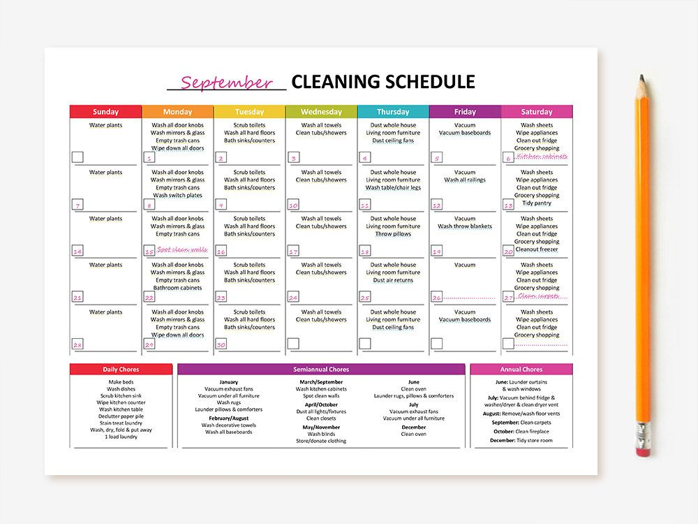 Printable Monthly Cleaning Schedule by GraceByFaith on Etsy - monthly sign up sheet template
